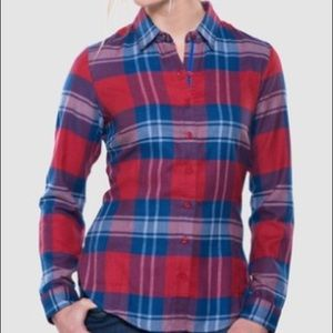 Kuhl Ophelia Red blue plaid longsleeve top